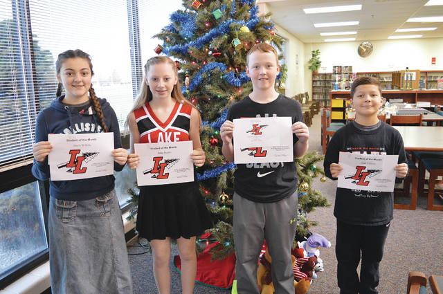 Indian Lake Middle School is honoring a student in each grade level for exhibiting the Christmas spirit and setting a good example. The December ILMS Students of the Month are 8th grader Hayle Willoby, 7th grader Jalan Martin, 6th grader Camdon Tuttle and 5th grader Czar Dickson. These students are chosen by their teachers and staff for demonstrating good citizenship, earning good grades and having a positive attitude. They receive a certificate, a homework pass, a pass to the front of the lunch line for a month, a free Cassano's pizza and an ice cream treat.