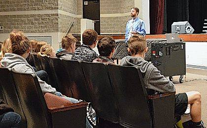Chad Wilkinson from WPKO/WBLL Radio visited Indian Lake High School as part of the Logan County Chamber of Commerce's Career Speaker Series at area high schools.
