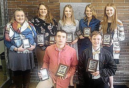 Shown are, front from left, Kale Shoffner, Cameron Daniels, back from left, Tiffany Clark, Jenni Kaffenbarger, Lindsey Berg, Delaney Woods and Aubrey Grider.