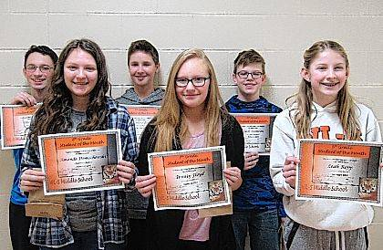 West Liberty-Salem Middle School's February Students of the Month are 8th graders Amanda Domachowski and Elliott Hager, 7th graders Trinity Floyd and Matthew Jones and 6th graders Leah Ropp and Zach Damron.