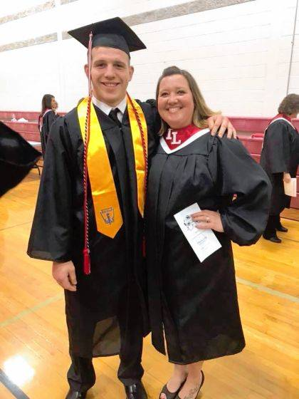 Indian Lake graduate Cole Mefford poses with his mother, Missy, who is a veteran.