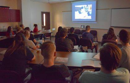 Students in an Indian Lake Anatomy class view an autopsy performed at the Ohio State University Wexner Medical Center.