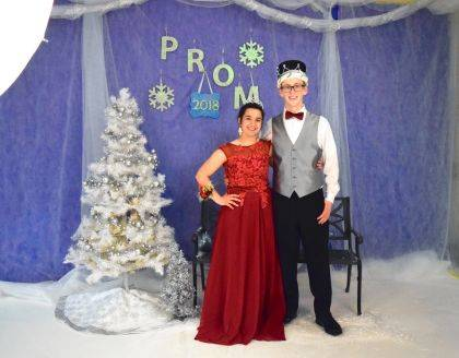"""Indian Lake High School seniors chose Spencer Wolf and MaryAnn Wahl as their 2018 Prom King and Queen, crowned in front of hundreds of students during the dance held May 5 in the Indian Lake High School Auxiliary Gym. Spencer is the son of Eric and Terri Wolf of Huntsville. MaryAnn is the daughter of Mark and Michelle Wahl of Huntsville. The prom theme was """"Winter Wonderland."""" After Prom was held at Indian Lake Middle School."""