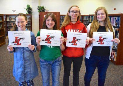 These four students are the final Indian Lake Middle School Students of the Month for the 2017-18 school year! ILMS recognized, from left, 5th grader Cambria Tuttle, 6th grader Autumn Miller, 7th grader Hannah Gambrel and 8th grader Chelsea LaRiva as the May 2018 Students of the Month. These students are chosen by their teachers and staff for demonstrating good citizenship, earning good grades and having a positive attitude. They receive a certificate, a homework pass, a pass to the front of the lunch line for a month, a free Cassano's pizza and an ice cream treat.