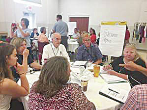 Community members discuss the needs of the collective during a call to action. The decision was made to form community coalitions to address areas of focus.