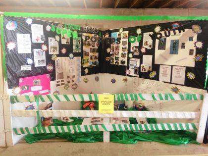 The Lucky Lakers 4-H Club received first place for its fair booth at the Logan County Fair. The theme was The Power of Super Heroes! Club members and their projects were Stevie Spofford (750 rifles, 753 pistol project, 631 basic archery), Carly Baldwin (breeding rabbits), Alayna Brunk (hedgehogs ideas starter), Titus Kelly (market hog project), Ashton Kemp (rockets away 2-liter bottles), Christopher Kretzmann (outdoor adventure - fishing), Landon Kretzmann (self-determined / rubicks cube challenge), Alexis Oakley (150ce chicken exhibition / fancy, dairy beef feeder), Tylor Shinkle (225 breeding rabbit project), Wyatt Kindle, Addisyn Butler and Arezlyn Oakle (710gpm cloverbud / activities:1). The club meets at Galilee Lutheran Church in Russells Point. For info: Suzy Mallory (937-539-2629), or Helen Timmer (937-407-3343).