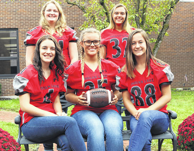 "Indian Lake High School's Homecoming Court includes Queen Amber Seeley (center) and attendants (seated left), freshman Lindsey Bodi and (seated right) sophomore Raelyn Parsell, (standing left) senior Belle Elliott and (standing right) junior Alyson Huffman. The Lakers take on Graham at 7 p.m. Friday, Oct. 5, at IL Stadium. The queen and her court will be presented during pregame ceremonies at 6 p.m. The 10th annual Homecoming Community Parade and Pep Rally, with the Walt Disney theme ""If You Can Dream It, You Can Do It! Finish the Falcons!"" begins at Paradise Island, west of Russells Point, at 6:30 p.m. Thursday, Oct. 4. The parade travels east to the McDonald's overflow parking lot for a community pep rally. More than 30 floats are expected."