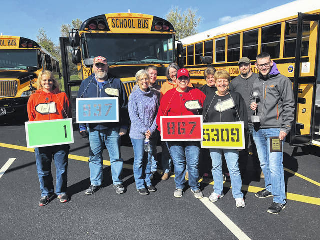 From left are Amy Stevens, Mike Pusey, Lynn Carpenter, Robert Ball, Barbara Scherer, Terrah Eaton, Lynne Snipes, Sue Ball, Pat Smith and Josh Randolph at the Bus Road-E-O.