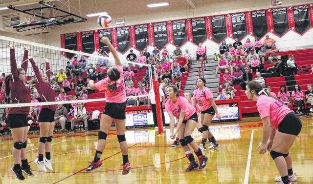 Shania Fruchey sends a spike past the Hillclimbers during the Lakers JV Volleyball win at the ILHS Pink Out.