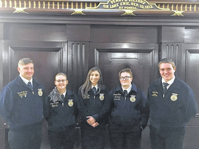 From left are IL/OHP FFA Officers Jarrett Monroe, Nikita Scheifele, Alexis Clem, Jazzlynn Goings and Jacob King.