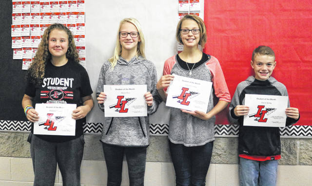 Indian Lake Middle School is thankful for the November Students of the Month! Congratulations to the latest picks: from left, 8th grader Madison Kidder, 7th grader Devin Rice, 6th grader Ashlynn Conley and 5th grader Gavin Spring. These students are chosen by their teachers and staff for demonstrating good citizenship, earning good grades and having a positive attitude. They receive a certificate, a homework pass, a pass to the front of the lunch line for a month, a free Cassano's pizza and an ice cream treat.