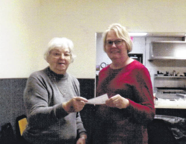 Hilda Koch, left, president of the Chippewa Neighborhood Watch, presents Joyce Gordon, right, of Our Daily Bread a check for $75 to buy turkeys and other needs for the Nov. 15 Thanksgiving Dinner at the Eagles Annex.
