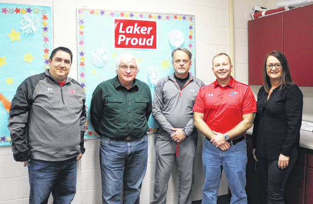 Members of the Indian Lake school board are, from left, President Gabe Wickline, Steve Spath, Scott Staley, Vice President Chad Ross and Kim Boswell.
