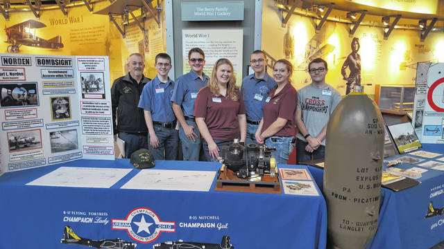 From left are Mark Curtner, Aviation instructor, Tyler Wooten, Sam Combs, Jocellen Detwiler, Chris Carter, Adreienne Detwiler and AJ Zavada.
