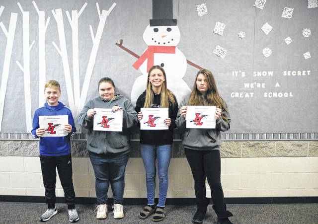 The January Indian Lake Middle School Students of the Month are, from left, 5th grader Carson Clary, 6th grader Lizzie Hunkler, 7th grader Kaitlyn Shaner and 8th grader Jazlynn Lowery. Students are chosen by their teachers and staff for demonstrating good citizenship, earning good grades and having a positive attitude. They receive a certificate, a homework pass, a pass to the front of the lunch line for a month, a free Cassano's pizza and an ice cream treat.