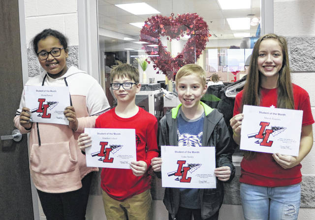 Indian Lake Middle School's February Students of the Month are, from left, 5th grader Alyssa Powell, 6th grader Madden Lillard, 7th grader Luke Seeley and 8th grader Marah Reames. These students are chosen by their teachers and staff for demonstrating good citizenship, earning good grades and having a positive attitude. They receive a certificate, a homework pass, a pass to the front of the lunch line for a month, a free Cassano's pizza and an ice cream treat.
