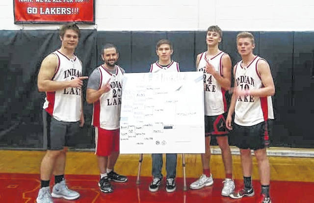 Indian Lake High School Youth Leadership students held their version of March Madness, with teams facing off in the second annual 3-on-3 Basketball Tournament to benefit the Logan County Vets to DC trip. The team called Kendryc's Ghost prevailed. Team members were, from left, junior Nate Reichert, ILHS math teacher Troy Shively, sophomore Lane Mefford, junior Austin Parker and junior Clay Jacobs. The tournament raised $250 for the program.
