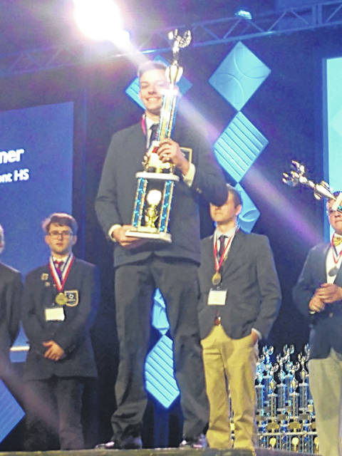 Dylan Van Tassell is the first state champion for Ohio Hi-Point's DECA program at Triad High School.