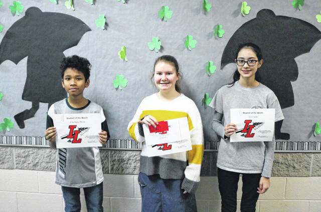 Indian Lake Middle School's Students of the Month for March are 5th grader Chazlance Moore, 6th grader Adilynn Hatfield (not pictured), 7th grader Jenna Cooper and 8th grader Izzy Fauley (pictured in order left to right). These students are chosen by their teachers and staff for demonstrating good citizenship, earning good grades and having a positive attitude. Each receives a certificate, a homework pass, a pass to the front of the lunch line for a month, a free Cassano's pizza and an ice cream treat.