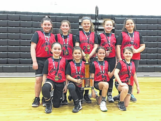 The Indian Lake 3rd grade girls captured the Northwest Ohio Basketball League Championship on March 10, defeating Riverdale, Marion Harding Red and Marion Harding Black to win the title. The girls finished the season with a 12-0 record. The team includes, kneeling from left, Anara Shroyer, Bre Wisener, Rya Pequignot, Alyson Hamilton, standing from left, Ava Phillips, Alivia Kinney, Chloe Borgerding, Madison Davis and Donna Zook. The team is coached by Mike Pequignot and Chris Kinney.