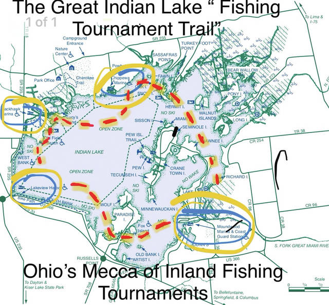 Lake could reel in season record - Weekly Currents on fontainebleau state park campsite map, pontiac lake recreation area campground map, pinckney recreation area campground map, holly recreation area campground map, indian lake ohio map, smith mountain lake state park campground map,