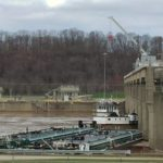Tow boat and barges stuck at Racine Locks