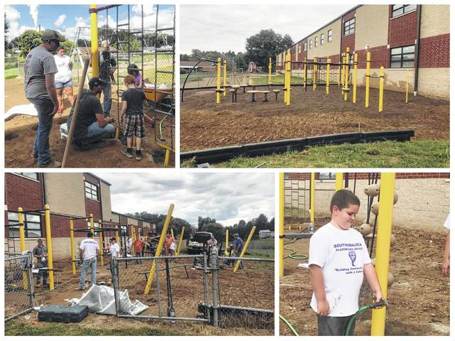 Volunteers spent their day on Saturday putting in new playground equipment for students at Southern Elementary. The playground went from an empty dirt area to a place with several areas for students to play and exercise.