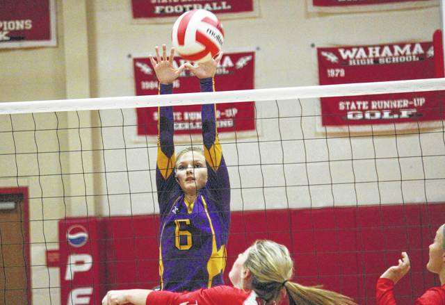 Southern's Phoenix Cleland goes up for a block attempt during the Lady Tornadoes' Tri-Valley Conference Hocking Division volleyball match against Wahama on Monday night in Mason, W.Va.