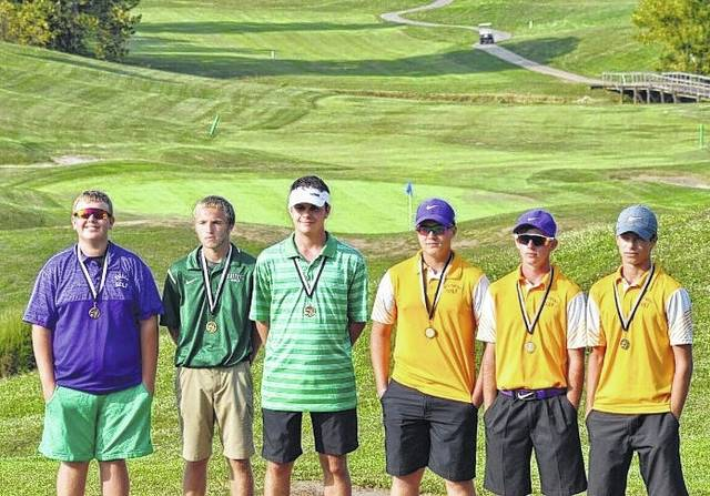 Posing for a picture are the first team honorees from Monday's TVC Hocking championship match at Woodridge Golf Club in Mineral Wells, W.Va. From left are Hunter Dutiel, Jasiah Brewer, Wesley Jenkins, Jensen Anderson, Jonah Hoback and Jarrett Hupp.