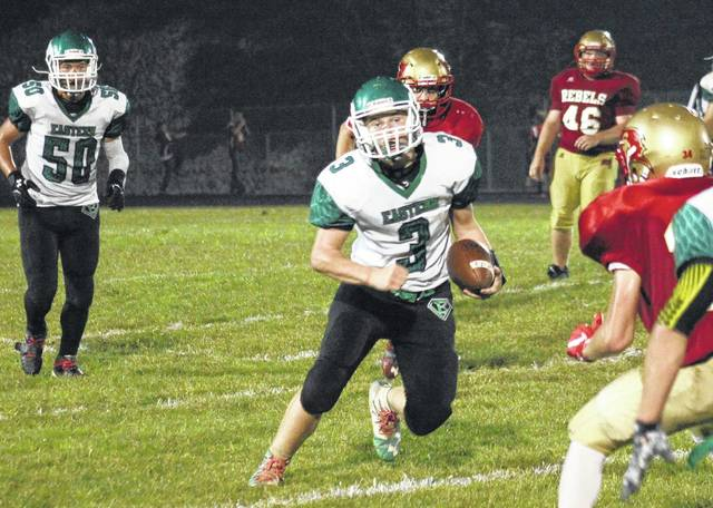 Eastern freshman Steven Fitzgerald (3) runs for yardage after a catch, during the Eagles' 40-20 win on Friday in Mercerville, Ohio.