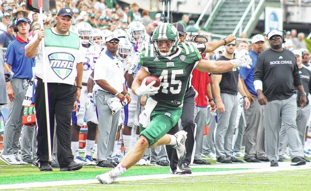 Ohio junior A.J. Ouellette (45) runs along the sideline during the Bobcats' non-conference win over Kansas on Sept. 16 in Athens, Ohio. (Alex Hawley|OVP Sports)