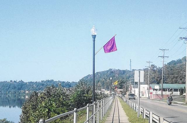 Maroon and Gold flags along the walking path in Pomeroy are one sign that the annual Reunion on the River is fast approaching.