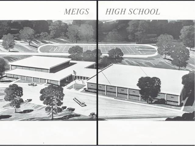 The 2 page spread in the 1968 Meigs Marauder yearbook shows what the soon to be home of the Marauders was to look like.