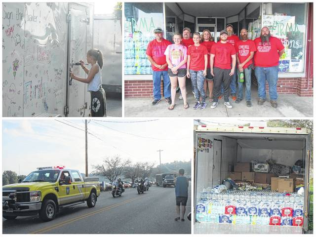 Volunteers left Pomeroy on Tuesday evening with trucks and trailers loaded down with supplies and donations for those in Florida impacted by Hurricane Irma. Volunteers Dave Neutzling, Craig Belcher, Rick and Pam Patterson, Taylor and Kelsey Rowe, Clinton Bailey, Courtney Fitzgerald and Eric Toops will be taking the supplies to Florida as well as spending a few days volunteering in the Jacksonville, Bradenton, Lake Placid and Naples areas which were impacted by the storm. Over the past week hundreds of individuals, businesses and organizations from around the region have made donations of supplies and money to the group for the hurricane victims following a social media call to help from local photographer Brandon Bartee. As a personal touch, some of those making donations, including Jaelyn Neutzling (step-daughter of volunteer Dave Neutzling), took time to write a personal message or sign their names to the trailer of supplies. Due to the amount of donations, which included generators, power washers and mattresses, a second trip is being planned to take the supplies which did not fit in the trailers for the first trip.