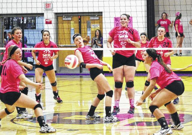 Girls from Southern and Eastern high schools in Meigs County will participate in this year's Volley for Cure. Pictured is a photo from 2016 during Breast Cancer Awareness Month, featuring a contest between Eastern and Southern, with players in custom pink.