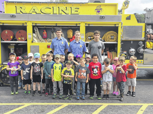 The Racine Volunteer Fire Department presented information about Fire Safety Week on Monday to Headstart through Grade 4 students at Southern Elementary. Junior Firemen assisting with the event were Ryan McCabe, Larry Dunn, Logan Dunn, and Gage Barrett.