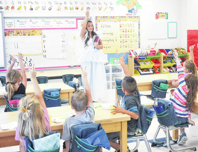 The Tooth Fairy talks with one of the kindergarten classes from Meigs Elementary School.