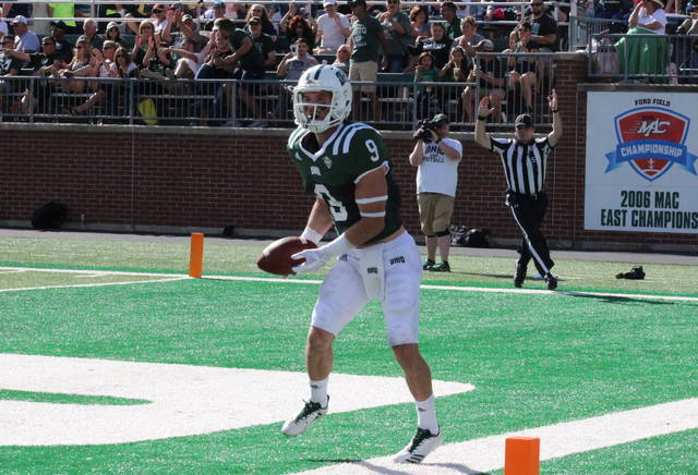 Ohio junior Andrew Meyer celebrates a touchdown, before it was called back due to a penalty, during the Bobcats' loss to Central Michigan on Oct. 7 in Athens, Ohio. (Alex Hawley|OVP Sports)