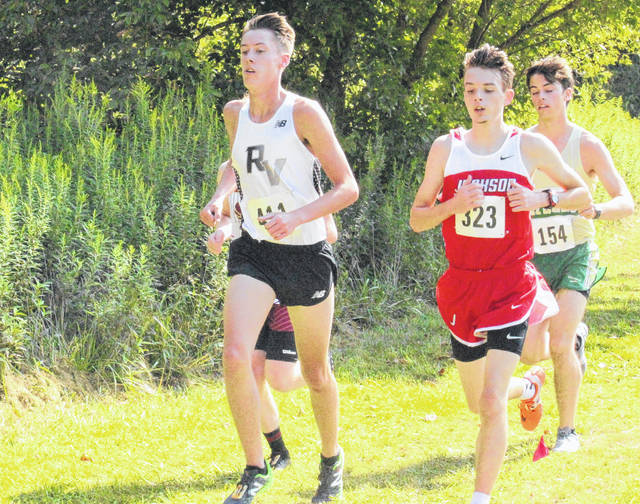 River Valley's Cole Franklin competes in the boys high school race as part of the Wellston Cross Country Invitational on Aug. 26 in Wellston, Ohio.