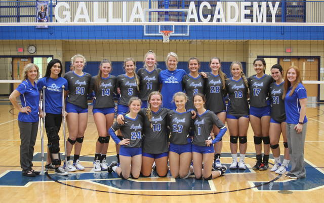 Members of the Gallia Academy volleyball team pose for a picture following the Blue Angels' sectional final victory on Saturday in Centenary, Ohio. (Alex Hawley|OVP Sports)