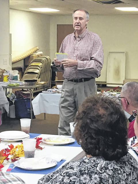 Mick Daveport speaks to the crowd gathered for Thursday evening's Meigs County Democrat dinner.