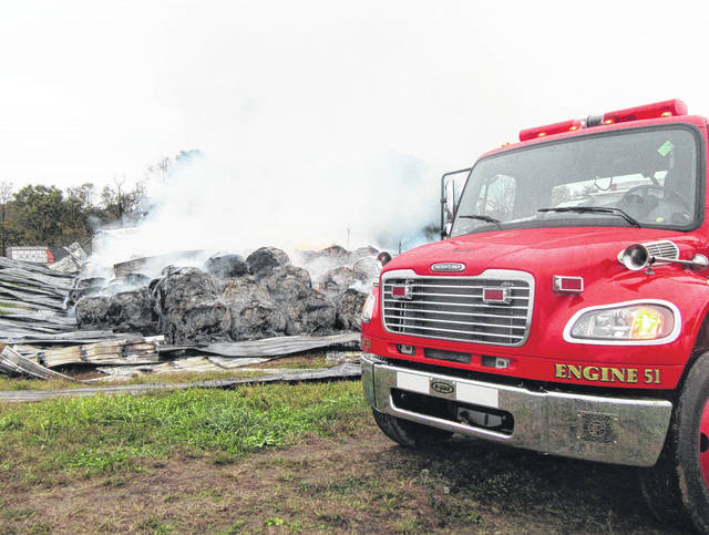 Crews from seven volunteer fire departments were called to a fire early Saturday morning at Holter's Dairy Farm near Five Points. Chester Volunteer Fire Department remained on scene Saturday as the hay bales continued to burn.