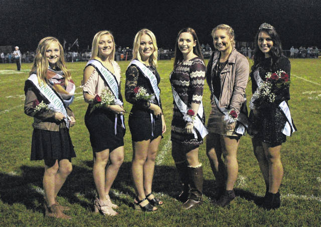 The 2017 Eastern High School Homecoming Queen was crowned during halftime of Friday evening's game at East Shade River Stadium. Pictured are (from left) freshman attendant Ashton Guthrie, sophomore attendant Ali Carleton, junior attendant Hannah Hill, senior Homecoming Queen candidate Madison Williams, senior Homecoming Queen candidate Sidney Cook, and 2017 Homecoming Queen Morgan Baer.