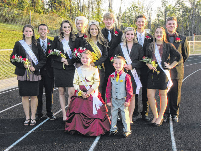 The 2017 Meigs High School Homecoming Court is pictured following the crowning of the queen on Friday evening at Farmers Bank Stadium. Pictured are (front, from left) Flower Girl Brielle Wyatt and Crown Bearer Jake Harrison; (second row) Queen Candidate Carmen Doherty, Queen Candidate Mariah Haley, Queen Olivia Davis, Queen Candidate Morgan Michael and Queen Candidate Sydney Kennedy; (back row) Levi Chapman, Beau Morris, Devon Hawley, Bryce Swatzel and Isaiah Ash.
