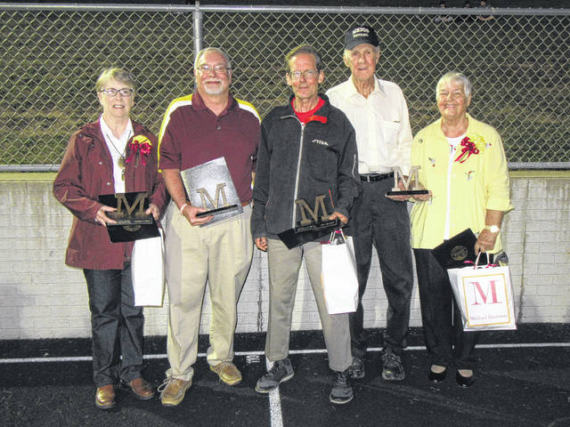 The 2017 Distinguished Alumni and Distinguished Service award recipients were Jennifer Lohse Sheets, Tom Reed, John Tannehill and Michael Bartrum (represented by parents Weldon and Joyce Bartrum).
