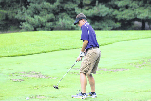 Southern's Joey Weaver putts on the third green at Meigs County Golf Course on Aug. 7 in Pomeroy, Ohio.