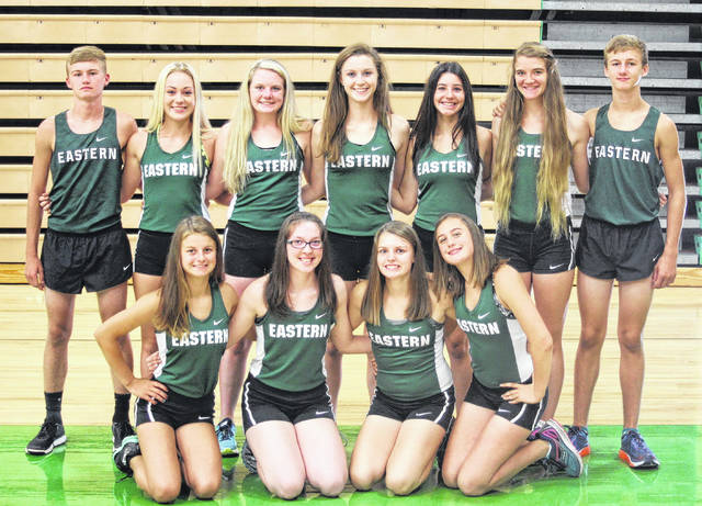 Pictured above are members of the 2017 Eastern cross country team. Kneeling in the front row, from left, are Haylie Blankenship, Alysa Howard, Ally Durst and Lexa Hayes. Standing in the back row are Owen Arix, Hannah Hill, Whitney Durst, Kaitlyn Hawk, Rhiannon Morris, Jessica Cook and Colton Reynolds.