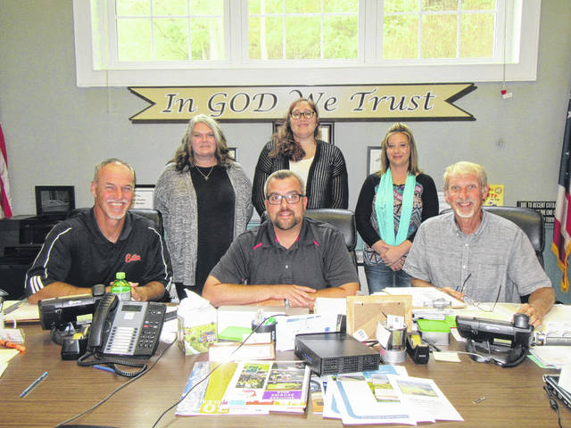 Meigs County Commissioners Mike Bartrum, Randy Smith and Tim Ihle are pictured with Meigs Local staff Josie Russell, Meigs Middle School after school program coordinator; Chelsie Barnes, Meigs Middle School service coordinator; and Amy Wilson, Meigs Elementary service coordinator.