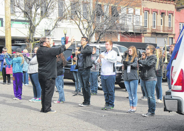 The Southern High School Marching Band performed as series of songs as part of Saturday's Veterans Day celebration at the Pomeroy Levee.