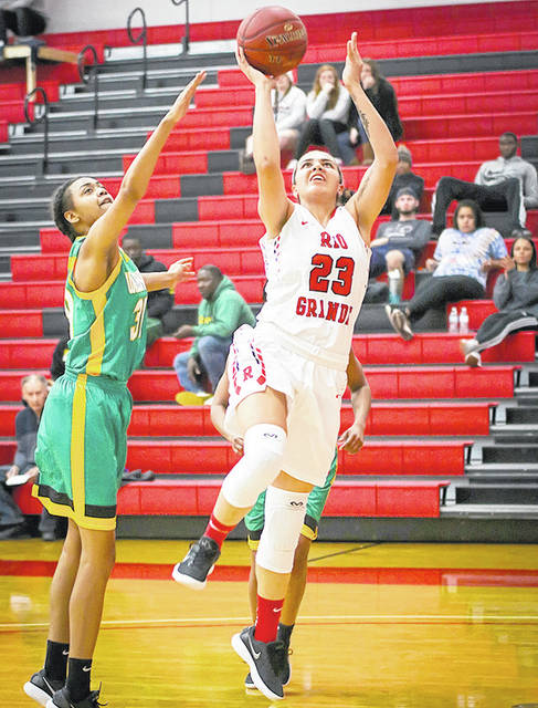 Rio Grande's Jasmine Smith scores two of her career-high 24 points in Saturday's 84-72 win over Wilberforce University in the women's bracket championship game of the Bevo Francis Invitational Tournament at the Newt Oliver Arena.